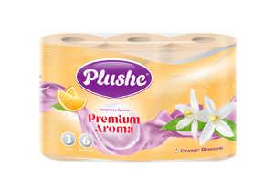 Туалетная бумага Plushe Aroma Orange & Blossom 3 сл, 6 рул, 15 м 1/16